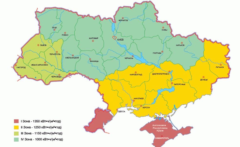 Распределение солнечной энергии по Украине - Саен